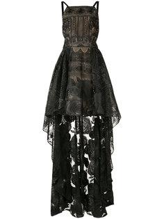 asymmetric hem floral dress Marchesa Notte