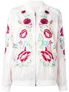 куртка-бомбер  с вышивкой роз P.A.R.O.S.H.