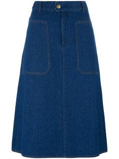 расклешенная джинсовая юбка A.P.C.