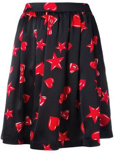 расклешенная юбка с принтом сердец Moschino