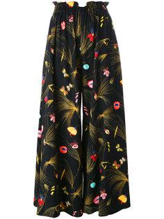 плиссированные брюки с цветочным принтом Fendi