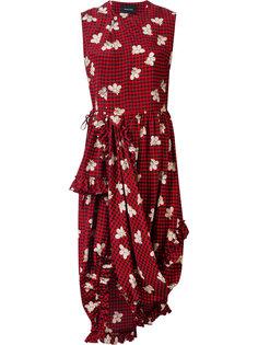 асимметричное клетчатое платье длины миди Simone Rocha