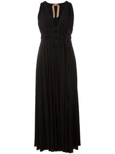 длинное платье с V-образным вырезом Nº21