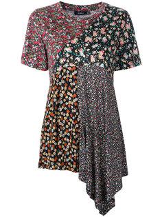 асимметричная футболка с цветочным принтом Goen.J