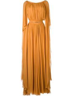 плиссированное длинное платье с поясом Elie Saab