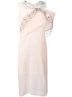 асимметричное платье с кружевной отделкой Carven