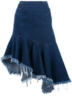 джинсовая юбка с бахромой Marquesalmeida