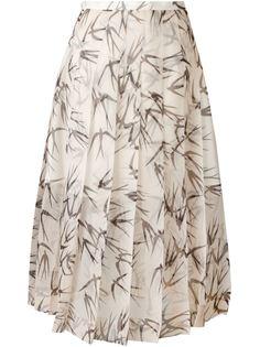 плиссированная юбка с принтом ласточек Rochas