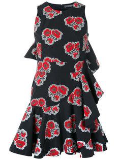платье с оборкой и рисунком из маков Alexander McQueen