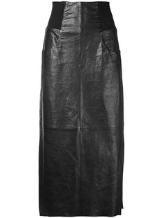 кожаная юбка миди Kitx