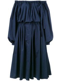 присборенное платье длины миди Rochas
