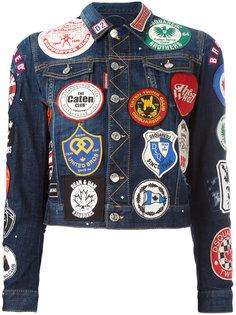 джинсовая куртка с нашивками Dsquared2