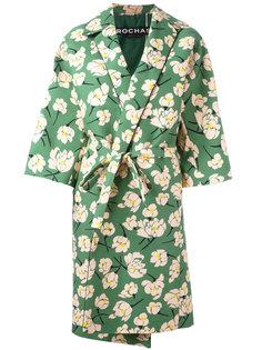 пальто с поясом и цветочным принтом Rochas