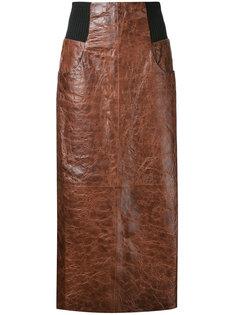 длинная кожаная юбка  Kitx