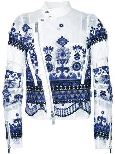 байкерская куртка из органзы с вышивкой  Sacai