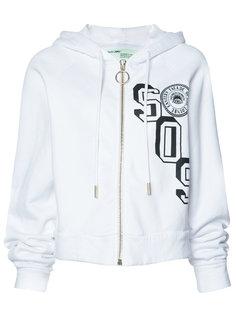 SOS print zipped hoodie Off-White
