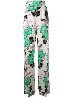 брюки с цветочным принтом Etro