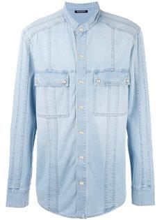 джинсовая рубашка без воротника Balmain