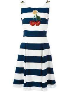 полосатое платье с вишенками из пайеток Dolce & Gabbana