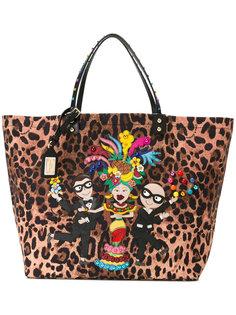 леопардовая сумка-шоппер с аппликацией Dolce & Gabbana