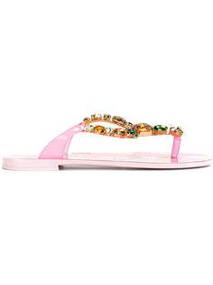 декорированные сандалии с ананасом Dolce & Gabbana