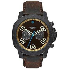 Кварцевые часы Nixon Ranger Leather Black/Goldenrod