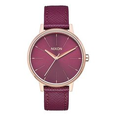 Кварцевые часы женские Nixon Kensington Leather Rose Gold/Bordeaux
