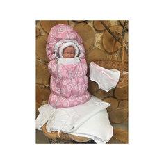Комплект на выписку 8 пред., GulSara, 116 стразы весна-осеньрозовые одуванчики