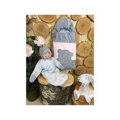 Комплект на выписку 6 пред., GulSara, 81 весна-осень велюр серый розовый