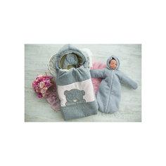 Комплект на выписку 6 пред., GulSara, 81 .1 зима велюр серый розовая вставка