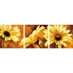"""Роспись по номерам, триптих """"Желтые цветы"""" 50*50 см (3 картины в наборе) Tukzar"""