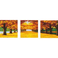 """Роспись по номерам, триптих """"Осенняя аллея"""" 50*50 см (3 картины в наборе) Tukzar"""