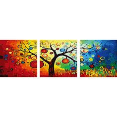 """Роспись по номерам, триптих """"Древо"""" 50*50 см (3 картины в наборе) Tukzar"""