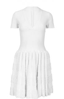 Мини-платье с драпированной юбкой Alaia