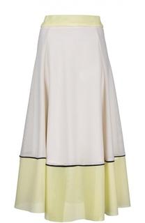 Вязаная юбка-макси с контрастной отделкой Maje