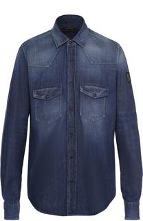 Джинсовая рубашка на кнопках с воротником кент Belstaff