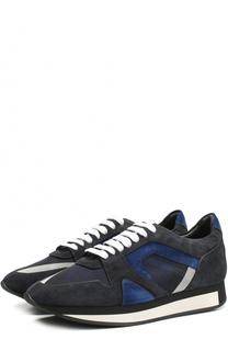 Замшевые кроссовки с вставками из текстиля Burberry