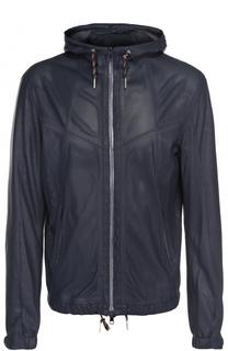 Кожаная куртка на молнии с перфорацией Delan