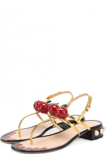 Кожаные сандалии Hatsumomo с декором Gucci