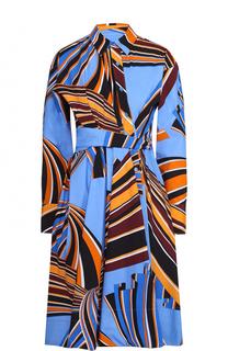 Платье-рубашка с поясом и ярким принтом Emilio Pucci