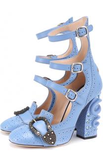Кожаные туфли Iowa на декорированном каблуке Gucci