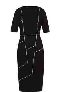 Приталенное платье-миди с контрастной отделкой Escada
