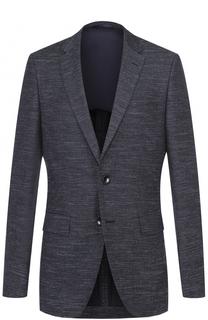 Приталенный пиджак Jestor  из смеси шерсти и хлопка со льном BOSS