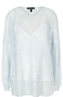 Шелковая полупрозрачная блуза с принтом Belstaff
