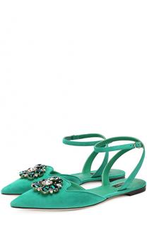 Замшевые балетки Bellucci с кристаллами Dolce & Gabbana