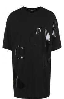 Удлиненная хлопковая футболка свободного кроя No. 21