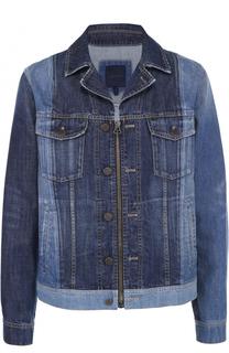 Джинсовая куртка на молнии с отложным воротником Lanvin