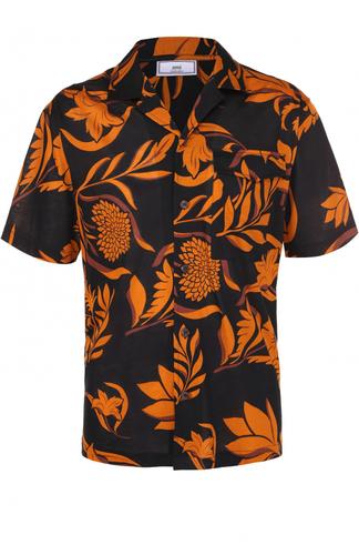 Хлопковая рубашка с короткими рукавами и контрастным принтом Ami