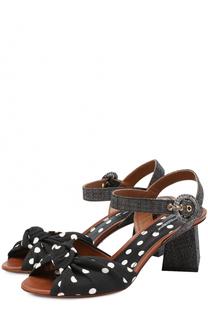 Босоножки Keira из текстиля на фигурном каблуке с плетением Dolce & Gabbana