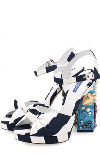 Босоножки из вискозы на декорированном каблуке Dolce & Gabbana